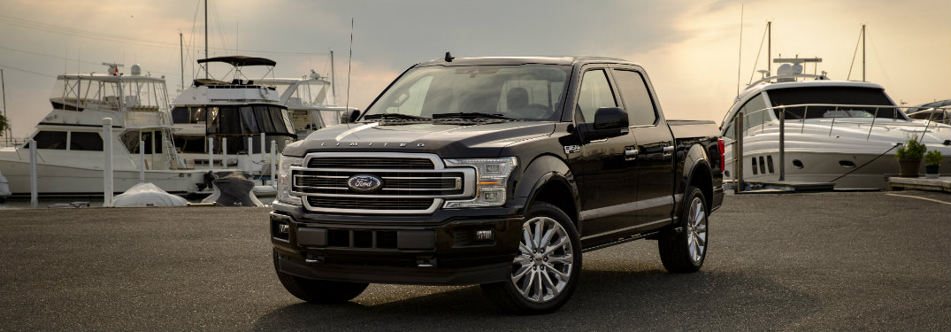 front-view-of-2019-Ford-F-150-Limited-parked-by-marina