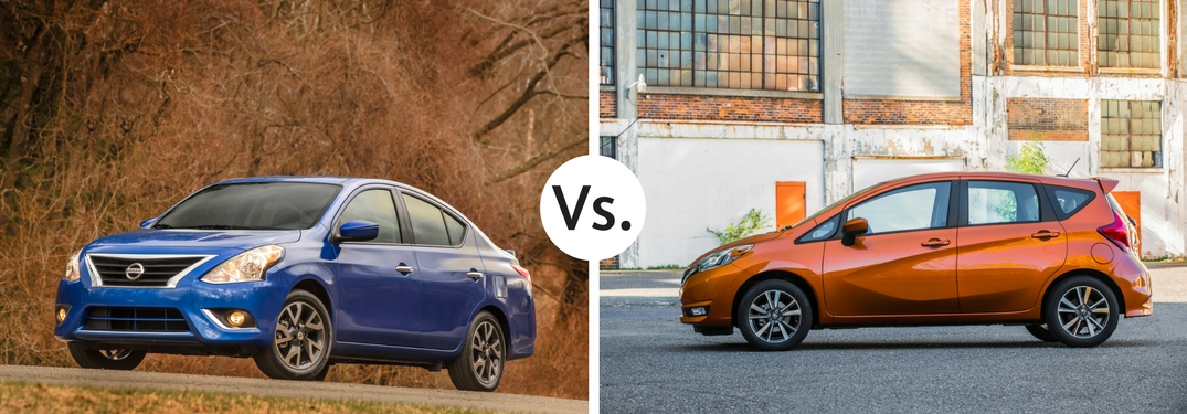 blue nissan versa parked vs orange nissan versa note on road