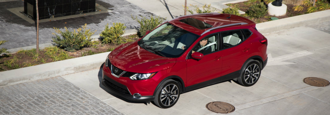 aerial view of red nissan rogue sport
