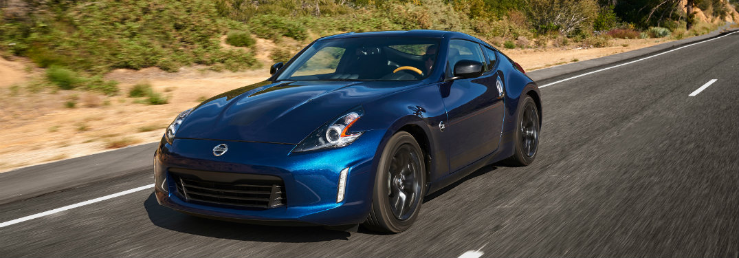 front view of blue nissan 370z