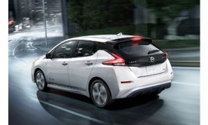 2018 Nissan Leaf white downtown