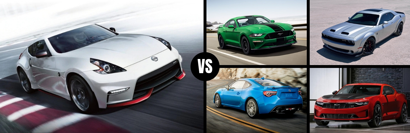 Comparison image of a white 2019 Nissan 370Z against four of its main competitors