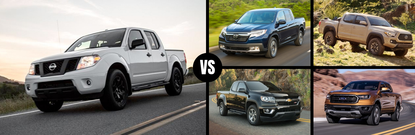 Comparison image of a white 2019 Nissan Frontier against four of its main competitors