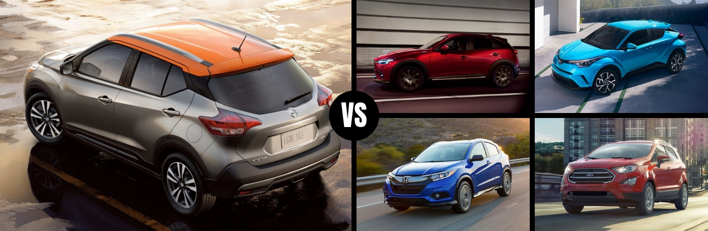 Comparison image of a gray and orange 2019 Nissan Kicks against four of its main competitors