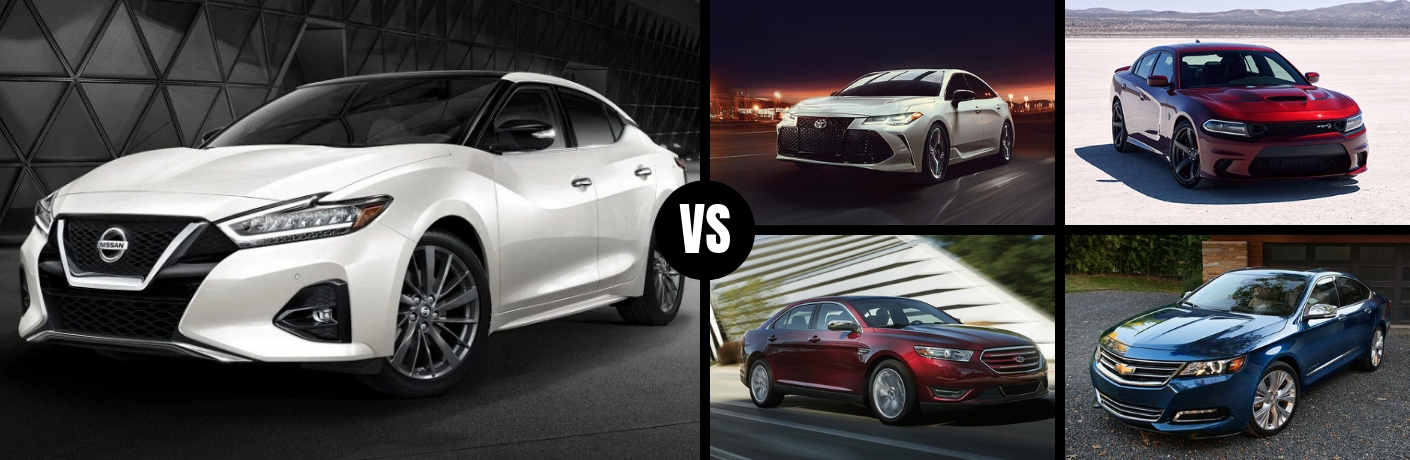 Comparison image of a white 2019 Nissan Maxima against four of its main competitors