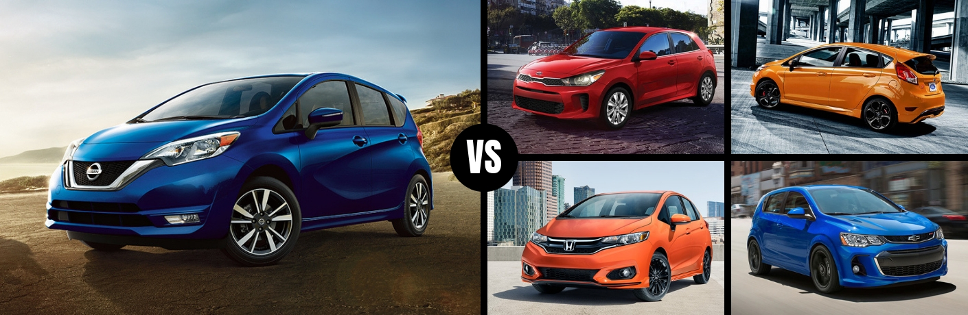 Comparison image of a blue 2019 Nissan Versa Note against four of its main competitors