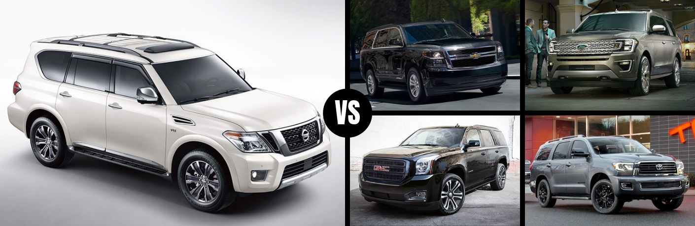 Comparison image of a white 2019 Nissan Armada against its competition