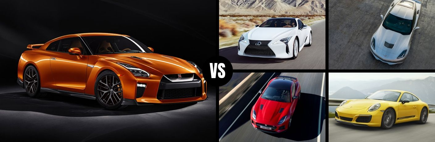 Comparison image of an orange 2019 Nissan GR-R against its competitors