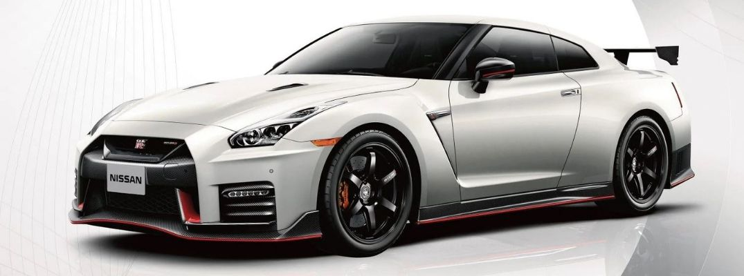 Exterior view of a white 2019 Nissan GT-R