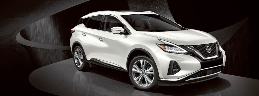 Exterior view of a white 2019 Nissan Murano