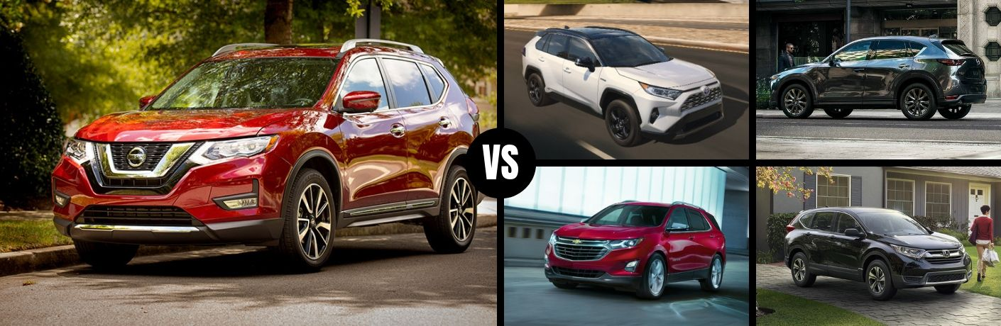 Comparison image of a red 2019 Nissan Rogue and its competition
