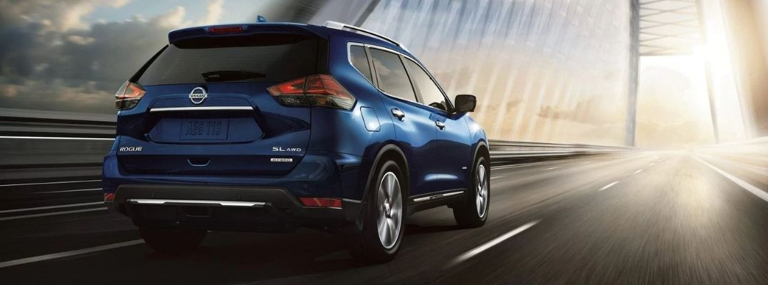 Exterior view of the rear of a blue 2019 Nissan Rogue