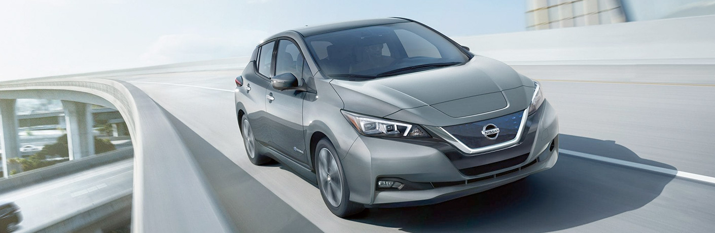 Exterior view of the front of a gray 2019 Nissan Leaf