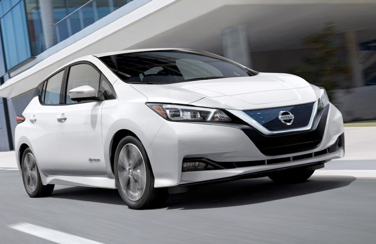 Exterior view of the front of a white 2019 Nissan Leaf