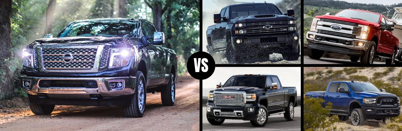 Comparison image of a black 2019 Nissan TITAN XD and its four main competitors