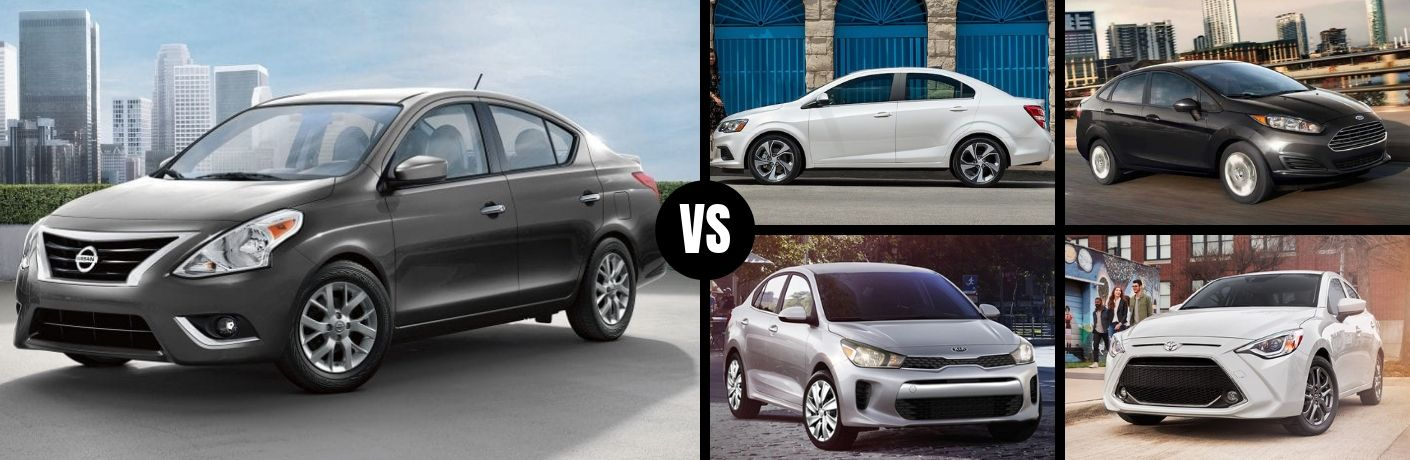 Comparison image of a gray 2019 Nissan Versa Sedan and its four main competitors
