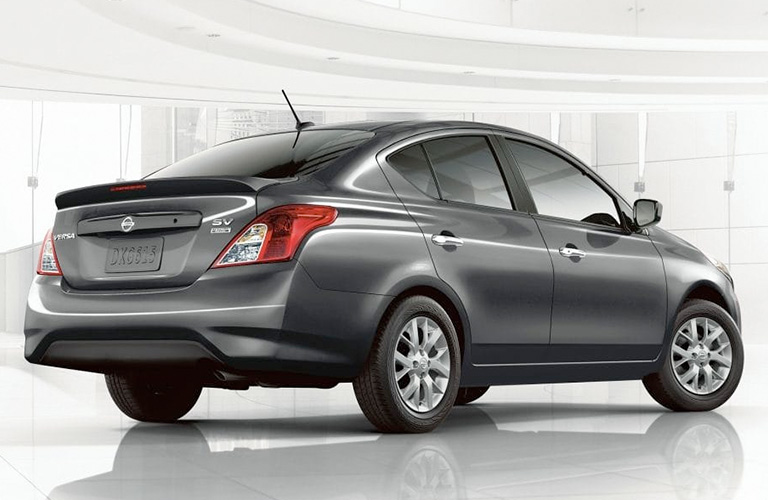 Exterior view of the rear of a gray 2019 Nissan Versa