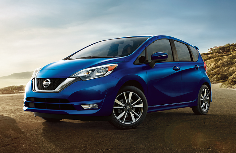 Exterior view of a blue 2019 Nissan Versa Note