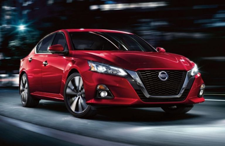 Exterior view of the front of a red 2020 Nissan Altima