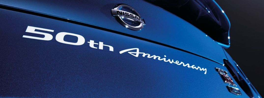 View of the 50th Anniversary badging on the rear of a the 2020 Nissan GT-R