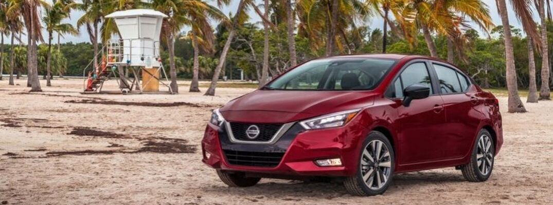 Exterior view of a red 2020 Nissan Versa
