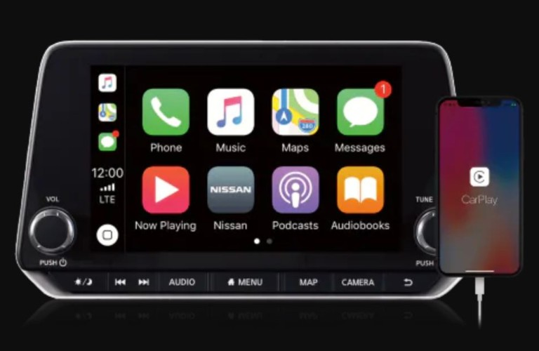 Closeup view of Apple CarPlay® on a Nissan vehicle touchscreen