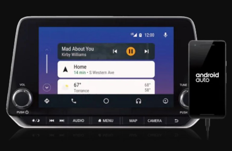 Closeup view of Android Auto™ on a Nissan vehicle touchscreen