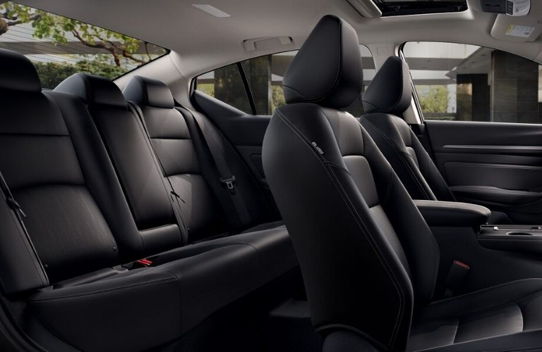 Interior view of the black seating inside the 2020 Nissan Altima