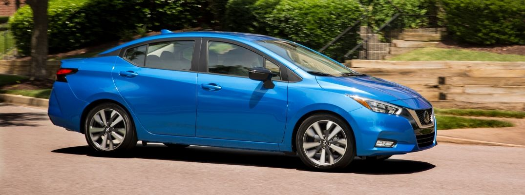 Exterior view of a blue 2020 Nissan Versa