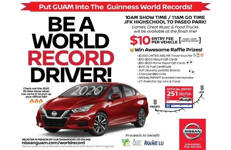 Nissan Guam Motorcade World Record banner highlighting the 2020 Nissan Versa