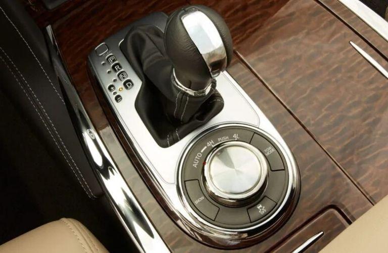 Closeup view of the 4-Wheel-Drive selector inside a 2020 Nissan Armada