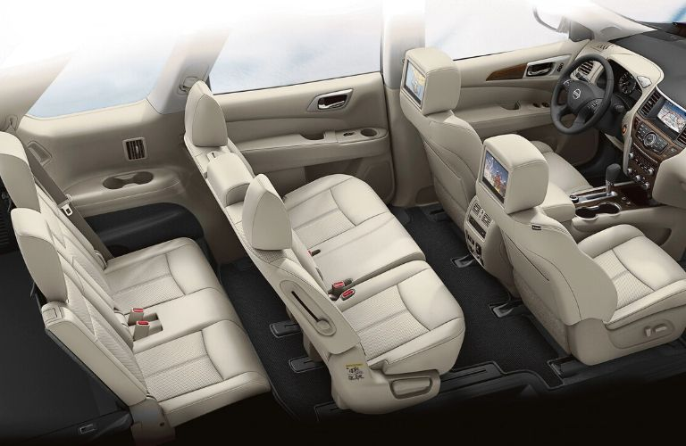 Interior view of the three rows of seating inside a 2020 Nissan Pathfinder