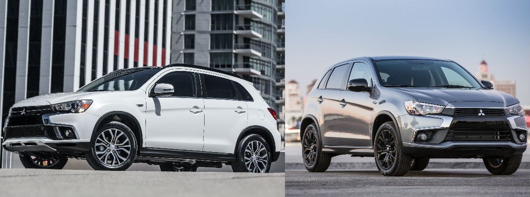 An image of a white 2018 Mitsubishi Outlander Sport on left and a grat 2017 Mitsubishi Outlander on right