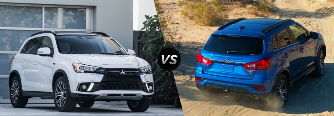 """Front exterior view of a white 2018 Mitsubishi Outlander on the left """"vs"""" rear exterior view of a Blue 2018 Mitsubishi Outlander Sport on right"""