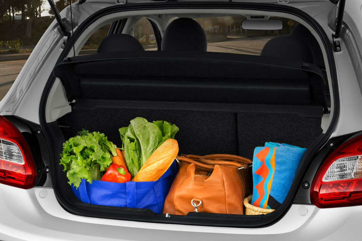 Trunk space of the 2018 Mitsubishi Mirage filled with cargo