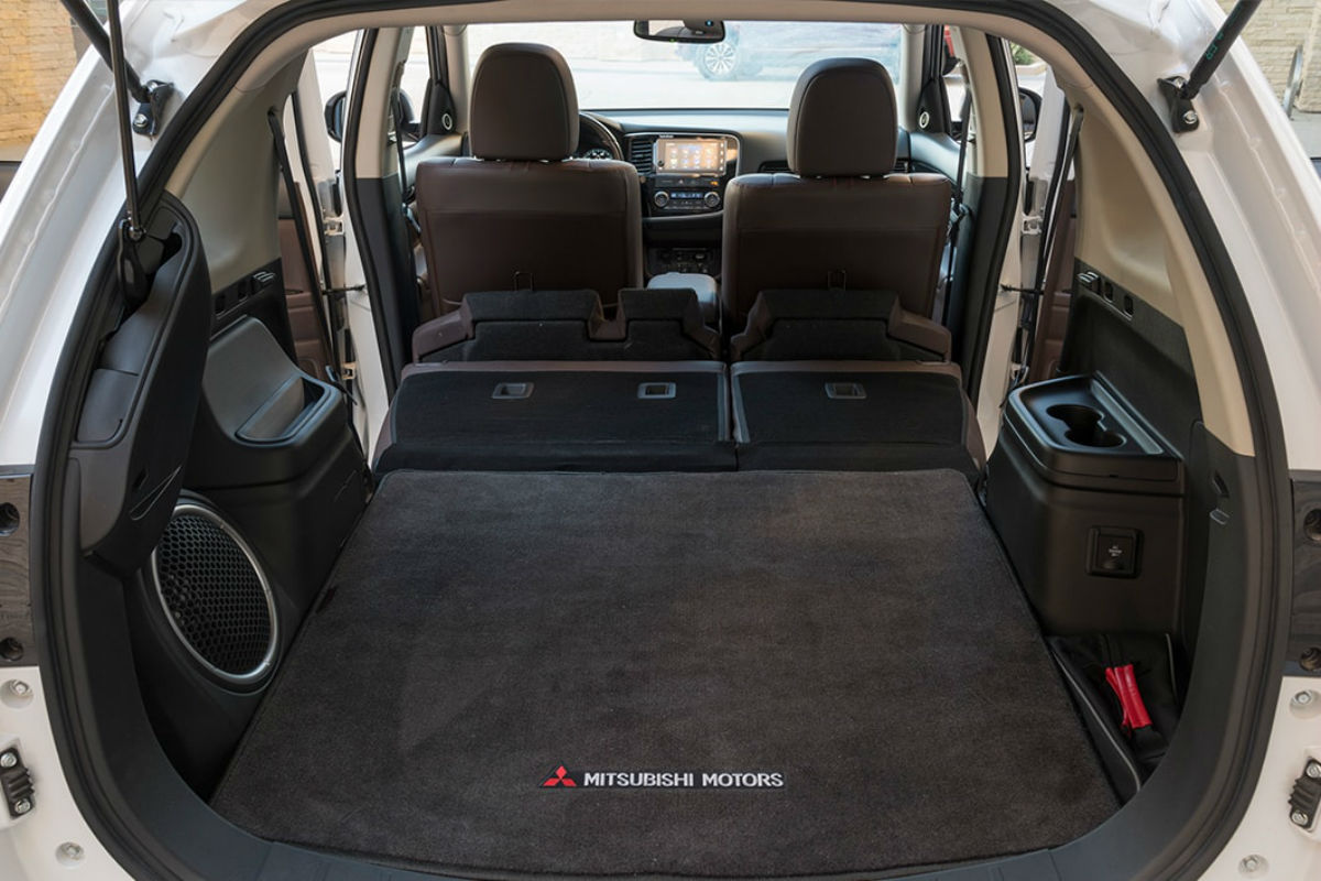 Rear seat folded flat in the 2018 Mitsubishi Outlander PHEV