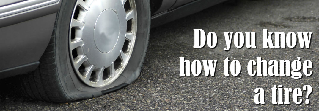 Do you know how to change a tire? with image of a flat tire