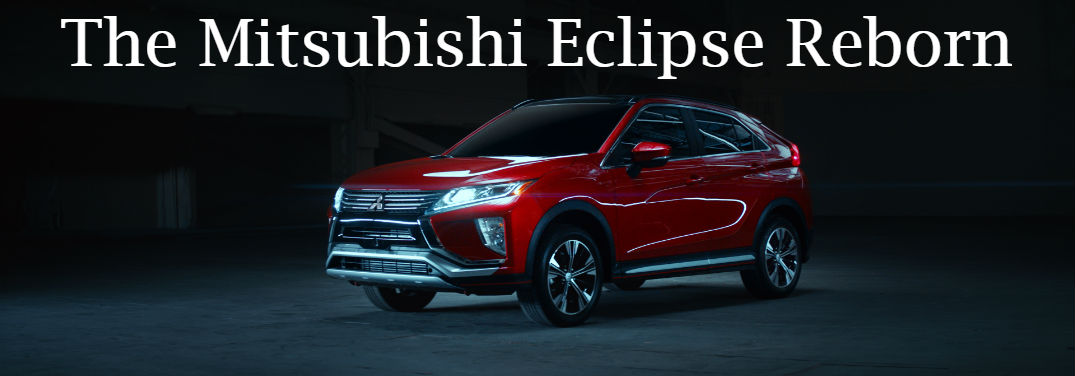 "The all-new 2018 Mitsubishi Eclipse Cross is ""a classic reborn"" with image of the crossover in a dark room and text saying ""The Mitsubishi Eclipse Reborn"""