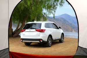 view of a 2018 Mitsubishi Outlander from a tent