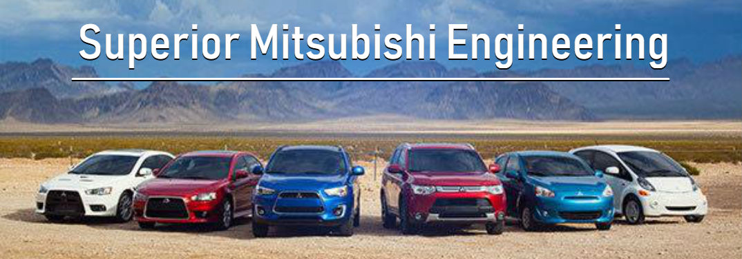 Superior Mitsubishi Super All-Wheel Control and Engineering with image of 2018 Mitsubishi model lineup in the desert with mountain background