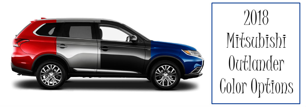 2018 Mitsubishi Outlander Exterior Color Options with image of an Outlander in four different colors