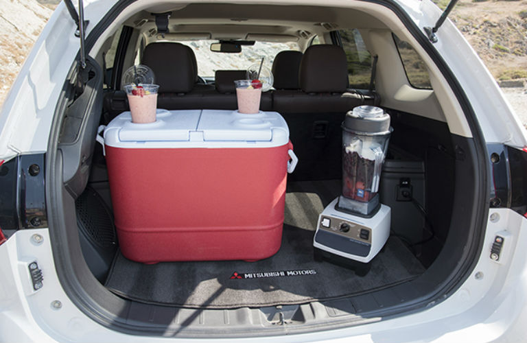 2018 Mitsubishi Outlander PHEV available cargo space with a cooler and blender in area