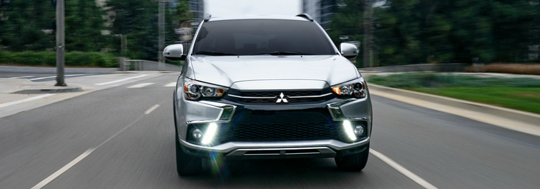 2019 Mitsubishi Outlander Sport Exterior Color Options with image of 2019 Outlander Sport in Alloy Silver Metallic driving towards the camera