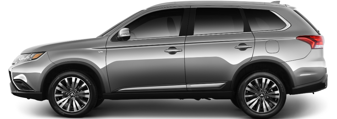 Side view of silver 2019 Mitsubishi Outlander