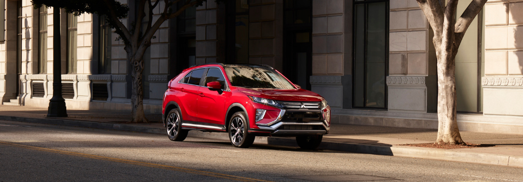 front and side view of red 2019 mitsubishi eclipse cross