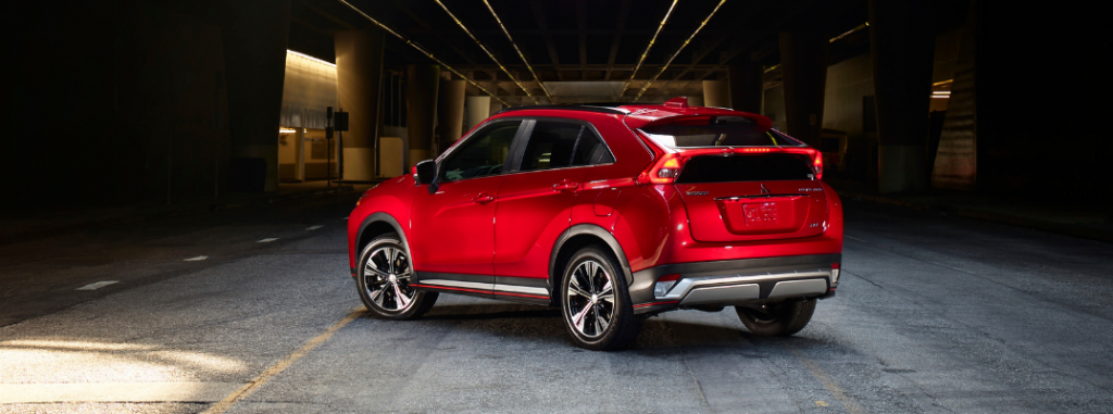 rear and side view of red 2019 mitsubishi eclipse cross