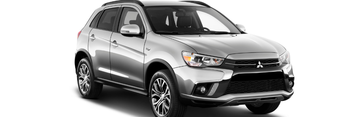 front and side view of silver 2019 mitsubishi outlander sport