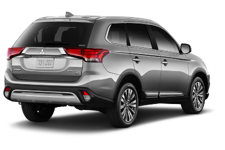 rear and side view of gray 2019 mitsubishi outlander