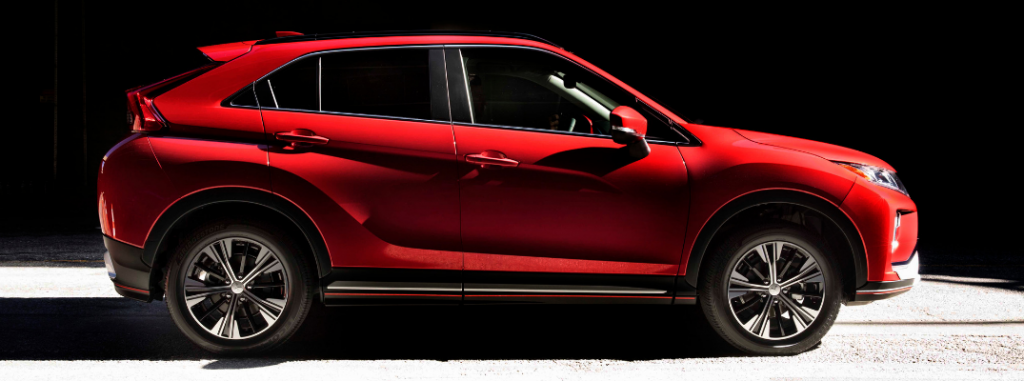 side view of red 2019 mitsubishi eclipse cross
