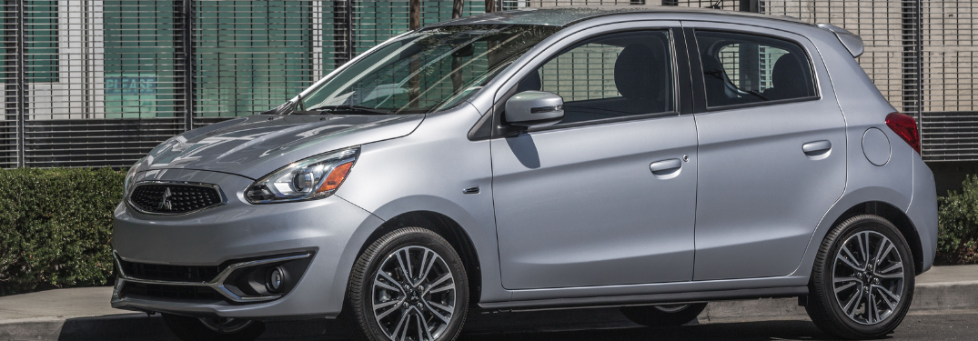 front and side view of silver 2019 mitsubishi mirage